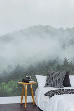 Gaze across the misty treetops with this unique forest wallpaper. Forest Wallpaper, Wall Wallpaper, Nature Wallpaper, Travel Wallpaper, Tree Wall Murals, Perfect Wallpaper, New Room, Sweet Home, Bedroom Decor