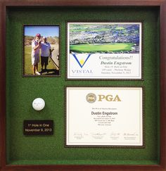 "Custom ""Hole in One"" shadowbox. This frame includes the ..."