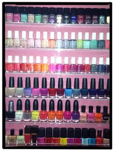 No, this photo was not taken at a nail salon. To store her polishes, editorial assistant Renee Trilivas bought this rack online. This way, they're are organized by brand and color—and look way prettier than they would jumbled at the bottom of a drawer.