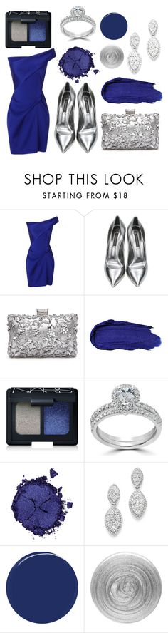 """""""Silver and Blue"""" by crown-princess-ani ❤ liked on Polyvore featuring Roland Mouret, Casadei, NARS Cosmetics, Bliss Diamond, Pat McGrath, Bloomingdale's, RGB Cosmetics and Nails Inc."""