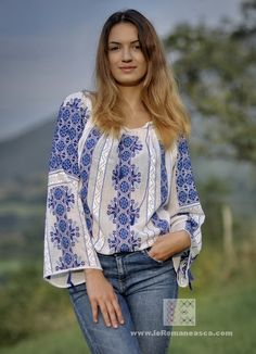 Ancient patterns hand stitched in the modern days. The Romanian Blouse is a piece of art. It takes weeks to complete the embroidery of on blouse. Folk Fashion, Ethnic Fashion, Bohemian Fashion, Bohemian Blouses, Boho Tops, Blouses For Women, Dress Sewing Patterns, Blouse Patterns, Kleding