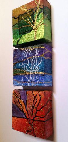 Petite toile peintures originales de triptyque par ArtBySwapna