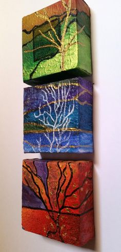 "Small canvas original Triptych paintings - ""Earth Sun Water"" 4"" X 4"" (each) Acrylic painting with texture by GlassyDreamz on Etsy"