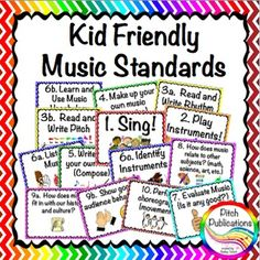 Kid Friendly Music Standards - EDITABLE. They are based on Georgia standards but easily adjusted for any state!