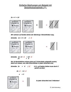 Einfache Gleichungen Am Beispiel Mit Streichholzschachteln 1 Einfache Gleichungen Am Beispiel Mit Stre Gleichungen Streichholzschachteln Streichholzer