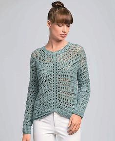 Ravelry: Charme Sweater pattern by Bergère de France - need to buy the back issue of the magazine [sport] Beau Crochet, Pull Crochet, Crochet Fall, Crochet Woman, Crochet Hooks, Knit Crochet, Cardigan Au Crochet, Crochet Patterns, Knitting Patterns