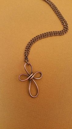 Simple Copper Wire Cross NecklaceWire by TheCasualCutie on Etsy