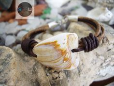 Roller shell -  Bracelet Unisex surfstyle Italian leather and sterling silver clasp
