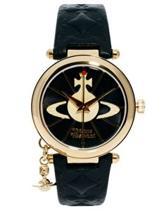 Vivienne Westwood Leather Strap Watch With Orb Charm
