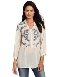 Johnny Was Women is Arnik Pintuck Blouse, Thunder, Small