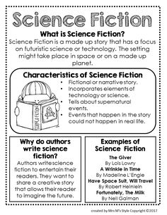 Science fiction writing learning 45 ideas for 2019 Reading Genre Posters, Reading Genres, Reading Comprehension, Genre Anchor Charts, Reading Anchor Charts, Science Fiction, Fiction Writing, Narrative Writing, Readers Workshop