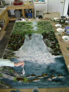 Waterfall Mural --omg the size! I can't even imagine a kiln this size!