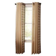 Martha Stewart Living Buckwheat Flour Geo Border Grommet Curtain, 84 in. Length-1618075 - The Home Depot