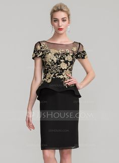 Sheath/Column Scoop Neck Knee-Length Lace Cascading Ruffles Zipper Up Sleeves Short Sleeves No Black General Plus Chiffon Height:5.7ft Bust:33in Waist:24in Hips:34in US 2 / UK 6 / EU 32 Mother of the Bride Dress