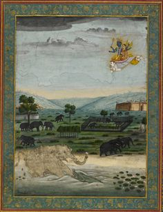 Gajendra Moksha. Vishnu and Lakshmi appear in the skies, riding Garuda to rescue the elephant king Gajendra from a crocodile. Ascribed to Mihr Chand, Faizabad, c. 1770. Johnson Album 40, 1. As featured in the British Library exhibition, Mughal India: Art, Culture and Empire.