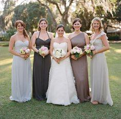 champagne and charcoal color pallette Amsale Bridal, Amsale Bridesmaid, Wedding Bridesmaid Dresses, Wedding Attire, Bridesmaid Ideas, Charcoal Wedding, Gray Weddings, Bridal Style, Wedding Bells