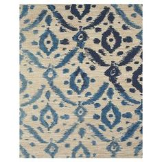 Hand-loomed jute rug with navy ikat motif.   Product: RugConstruction Material: JuteColor: NavyFeatures:  Hand-loomedMade in IndiaCanvas backing Note: Please be aware that actual colors may vary from those shown on your screen. Accent rugs may also not show the entire pattern that the corresponding area rugs have.Cleaning and Care: Vacuum on hard floor setting. No beater bar. Professional cleaning recommended.