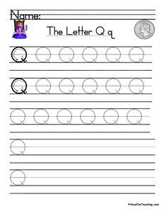 UsingLetter Q Handwriting Practice Worksheet, students trace and then write the letter Q in order build their Zaner-Bloser style print handwriting skills. Print Handwriting, Handwriting Practice Worksheets, Teaching Handwriting, Teaching The Alphabet, Teacher Worksheets, Teaching Writing, Have Fun Teaching, Teaching First Grade, Letter L Song