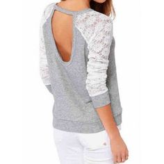 $11.60 Stylish Scoop Neck Long Sleeve Spliced Hollow Out Women's T-Shirt