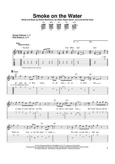 """Buy """"Smoke On The Water"""" Sheet Music by Deep Purple for Easy Guitar Tab Guitar Tabs Acoustic, Guitar Tabs And Chords, Easy Guitar Tabs, Music Theory Guitar, Easy Guitar Songs, Guitar Chords For Songs, Music Chords, Guitar Sheet Music, Simple Guitar"""