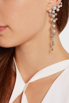 Ryan Storer | Silver-plated, Swarovski crystal and pearl clip earrings | NET-A-PORTER.COM