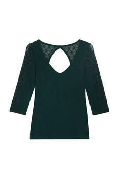 Grünes Top mit Spitzen-Details und 3/4 Ärmeln #newin #greenshirt #TALLYWEIJL