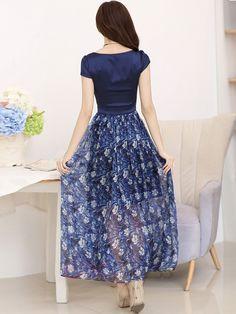 Ericdress Patchwork Floral Print Casual Dress 2