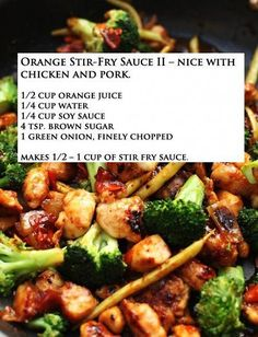 Orange Stir Fry Sauce- just made this :) really easy and yummy! Just added a little sesame oil for fun! If you like a thicker sauce, add cornstarch. Asian Recipes, New Recipes, Dinner Recipes, Favorite Recipes, Healthy Recipes, Recipies, Stir Fry Recipes, Cooking Recipes, Wok Sauce