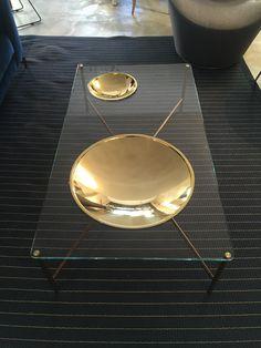 Table basse –Golden Moon – GALOTTI & RADICE Design Massimo Castagna 1 Dimensions: 130x 70 x 35h Verre transparent extra leger et laiton doré Prix : 2455€ TTC + 3€ d'éco-participation -15%