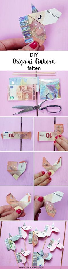 Folding banknotes creatively to the origami unicorn - DIY instructions - Foldin. Folding banknotes creatively to the origami unicorn – DIY instructions – Foldin… Diy Origami, Useful Origami, Origami Tutorial, Origami Paper, Diy Paper, Diy Tutorial, Money Origami, Unicorn Diy, Unicorn Birthday