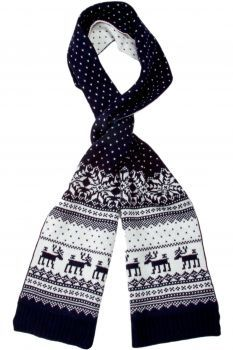 69f504567f7 Fairisle Winter Scarf with Reindeer and Snowflakes