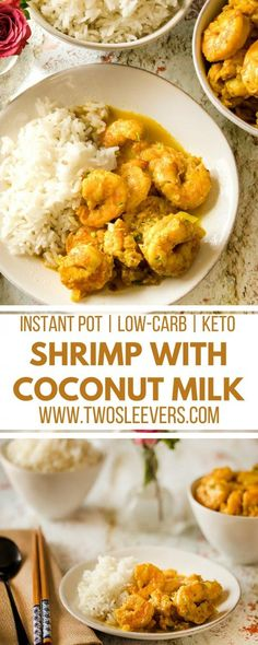 with Coconut Milk LowCarb Shrimp With Coconut Milk Coconut Milk Recipes Shrimp Recipes Seafood Instant Pot Recipes Low Carb Keto Indian Recipes Two Sleevers Shri. Low Carb Shrimp Recipes, Coconut Shrimp Recipes, Seafood Recipes, Indian Food Recipes, Healthy Recipes, Recipes With Coconut Milk, Fast Recipes, Recipes Dinner, Indian Shrimp Recipes
