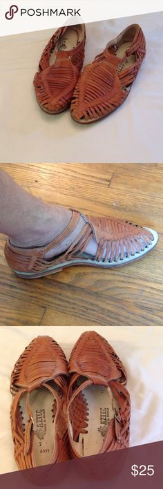 Men's Leather Huarache Sandals Men's Leather Huaraches Made in Mexico Tan Color.  US size 13.  Stylish and Comfortable Casual Sandals Picked Up on a Trip Abroad.  Excellent Condition Maybe Worn Just Once.  Rock em with Shorts or Rolled up Jeans. Shoes Loafers & Slip-Ons