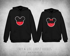 Cute Matching Boy and Girl Mickey and Minnie Couple Hoodie