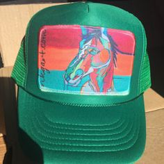 Monochrome Trucker Hat with Horse Patch