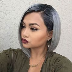 This sleek, shiny metallic bob is great for hair that isn't too difficult to maintain. Although going for the chop can be a tough choice, experimenting with color can make things a little easier. That's definitely the case when you see this grey bobbed beauty!