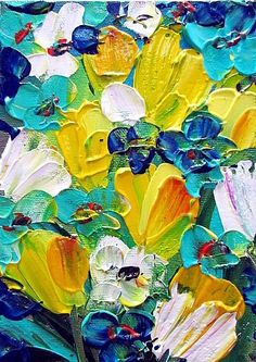 turquoise and yellow painting - beautiful colors painting inspiration Art Floral, Yellow Painting, Painting Abstract, Art Moderne, Palette Knife Painting, Art Portfolio, Art And Illustration, Painting Inspiration, Art Inspo