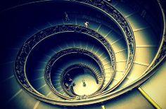 The most famous staircase, at the entrance to the Vatican Museums, Italy