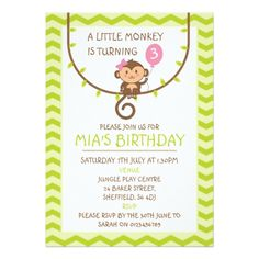 Monkey themed birthday party invitation - birthday invitations diy customize personalize card party gift