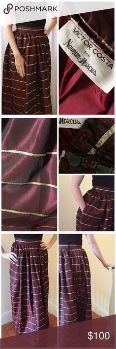 Victor Costa for Neiman Marcus // formal skirt Vintage eveningwear skirt in burgundy taffeta with gold lurex stripes. Amazing piece perfect for tall, narrow ladies and especially great around the holidays. In today's sizing it's a small 2, maybe a 0 depending where you want it to sit on your waist. Victor Costa has a long career in fashion and I'm not certain when this dates from; it's been worn to a couple of events and is in great condition. I wish I could still squeeze into it! AND: it…