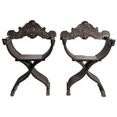 Pair of Italian Renaissance-Style Savonarola Chairs | From a unique collection of antique and modern armchairs at https://www.1stdibs.com/furniture/seating/armchairs/