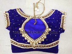 Pearl Work Blouse in Blue | Saree Blouse Patterns
