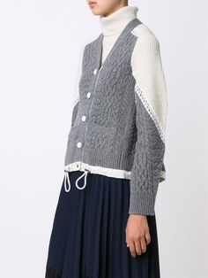 Sacai two tone cable knit cardigan