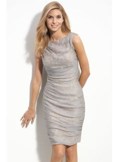 Sheath/Column Scoop Neck Knee-Length Chiffon Satin Mother of the Bride Dress With Ruffle