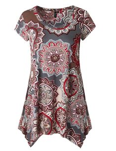 Zattcas Womens Short Sleeve Flare Tunic Tops Loose Fit Print Summer Tunic Shirt (X-Large, Multi Gray): Zattcas Womens Short Sleeve Flare Tunic Tops Loose Fit Print Summer Tunic Shirt Summer Tunics, Summer Tops, Tunic Shirt, Tunic Tops, Maternity Tops, Short Sleeve Dresses, Short Sleeves, Clothes For Women, Loose Fit