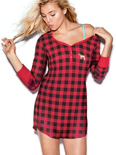 Victoria's Secret | PINK NEW! THERMAL SLEEP SHIRT, Color Buffalo Check $32.95