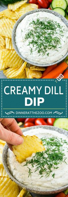 Dill dip is a creamy herb flavored snack that pairs perfectly with potato chips and vegetables. Dill Dip Recipes, Chip Dip Recipes, Easy Appetizer Recipes, Potato Recipes, Snack Recipes, Cooking Recipes, Appetizers, Easy Dip Recipes, Healthy Recipes