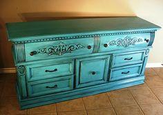 Facelift Furniture: Turquoise & Black Glazed Dresser/Flat Screen Stand