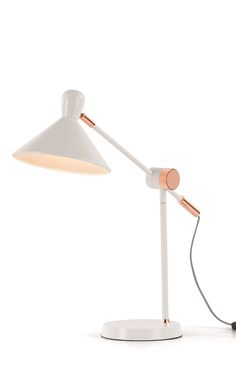 Ogilvy Task Table Lamp, in Matt Soft Grey and Copper. A collaboration between MADE and Livingetc. £69. MADE.COM