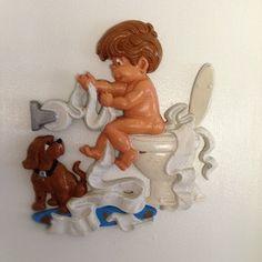 Humorous 1970's boys bathroom decor